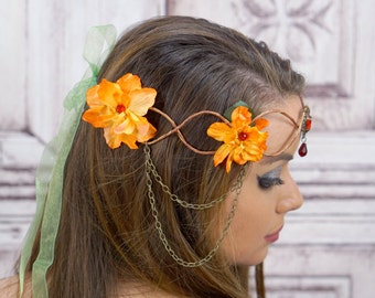 Fairy Crown, Fire Fae, Autumn Flowercrown, Elven Crown Headpiece, Cosplay, Costume, Fantasy Headdress, Seelie, Larp