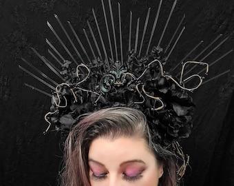 Unseelie Headdress, Black Halo Gothic Headpiece, Dark Siren Headdress, Dark Fairy, Costume, Cosplay
