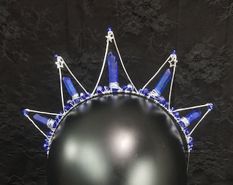 Blue Crystal Crown, Silver Star Tiara, Starbust Crown, Quartz Crystal Point Tiara, Dark Blue Crown, Elven Crown