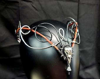 Gothic Circlet, Raven Skull Crown, Witch Costume Headdress, Tiara, Cosplay