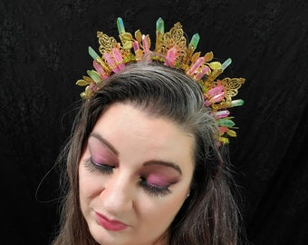 Bella- Crystal Filigree Crown, Baroque Crown, Gold Crown, Customizable