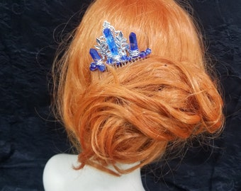 Crystal Point Hair Comb, Cobalt Blue Hair Comb, Jewelry Comb, Blue Crystal Point Fascinator