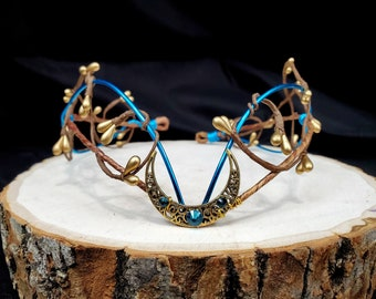 Moon Circlet, Blue and Gold, Woodland Fairy Crown, Costume Headdress, Customizable