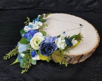 Blue and White Rose Statement Necklace, Woodland Floral Bib Necklace, Blue and white Flower Necklace