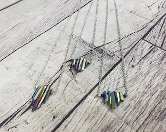 Quartz Crystal Point Necklace, Rainbow Aura QuartzJewelry
