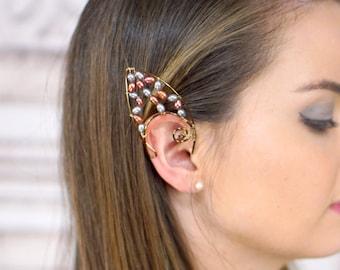 Elf Ear Cuff, Antique Brass, Freshwater Pearls , Elven Jewelry, Elf Ears, Earth Fairy, Dark Elf, Fairy Ear Cuff, Natural Pearls, 2 cuffs