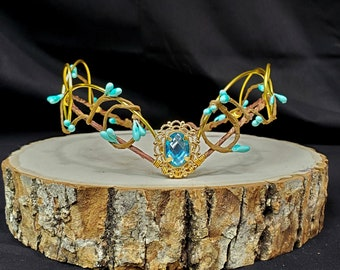 Woodland Elven Circlet, Blue and Gold, Fairy Crown, Costume Headdress, Tiara, Cosplay