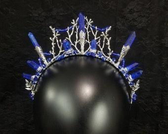 Blue Crystal Crown, Silver Tiara, Goddess, Quartz Crystal Point Tiara, Dark Blue Crown, Elven Crown