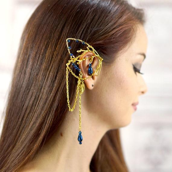 Gold Elf Ear Cuff Elven Branch Choose Your Crystal