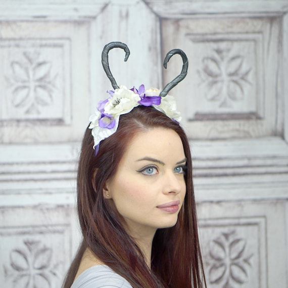 Dragon Costume Horns Red and White Horn Headband Costume Horns Cosplay Faun Maenad Headband Winter