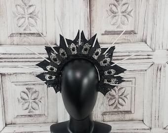 Gothic Halo Headdress, Black and Silver Headpiece, Goddess Headdress, Spiked Crown, Costume Headpiece, Fantasy, Costume, Cosplay