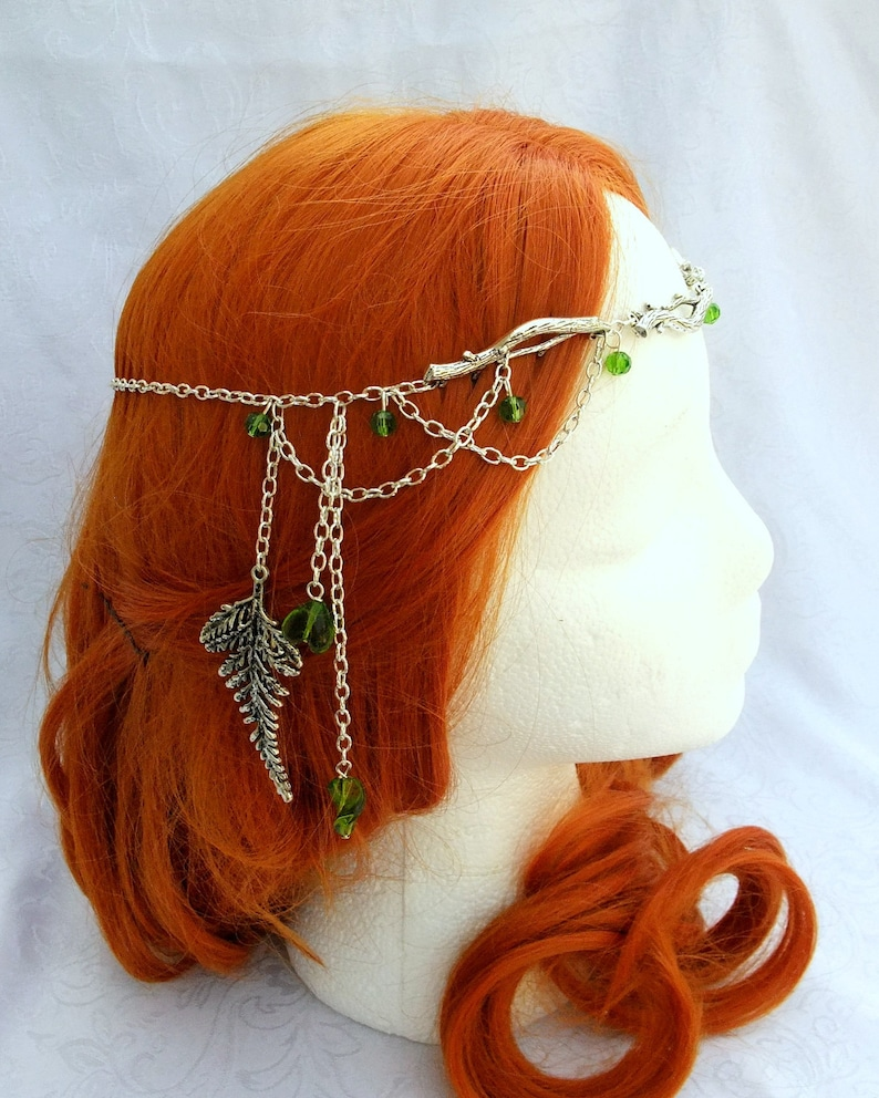 Forest Elf Branch and Fern Silver Circlet Bridal Head Piece image 0