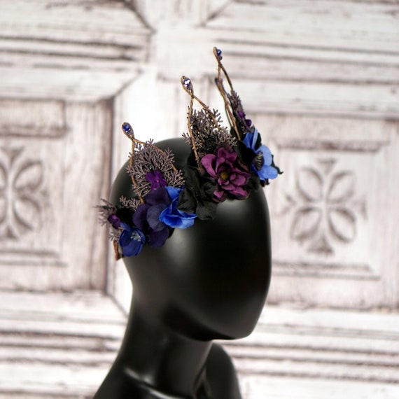 Cobalt Blue Dark Purple Black Flower Crown Unseelie Elven  b1557c9886c