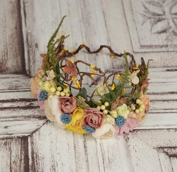 Elven Crown Bridal Crown Woodland Flowercrown Green Flower Crown Renaissance Fairy Headdress Boho Wedding Bridal Headpiece