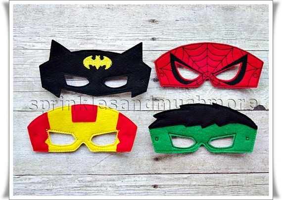create your own superhero masks bundle batman spiderman hulk etsy