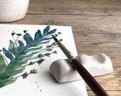 Speckled Brush Holder - Pen Holder - Brush Rest - Watercolor - Watercolour - gift for artist - handmade pottery