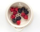 Berry Bowl with Saucer - Fruit Strainer - Pottery Colander - Fruit Bowl - size and color options