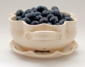 Berry Bowl with Saucer - Fruit Strainer - Gourmet Gift - Housewarming Gift - Pottery Colander - size and color options