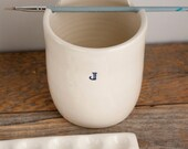 Monogrammed - Paint Water Cup - MADE to ORDER - Brush Pot - Rinse Bowl - Watercolor - Watercolour - gift for artist - handmade pottery - CUP