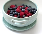 Berry Bowl - Fruit Strainer - Pottery Colander - Berry Strainer with Saucer - size and color options