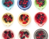 Berry Bowl with Saucer, Pottery colander, Fruit Strainer, Handmade Pottery