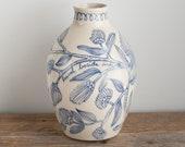 jug - jar - vase - bottle vase - bottle - floral - rabbit - blue and white - illustrated