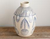 jug - jar - vase - bottle vase - bottle - floral - rainbow - blue and white - illustrated