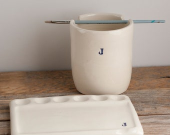 Monogrammed - Palette and Paint Water Cup - gift set - Watercolor - gift for artist - handmade pottery - SET