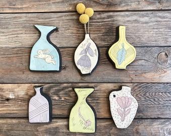 Bud vase - wall vase - PICK ONE - Wall Art - Ceramic - Illustration