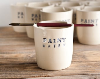 Paint Water Brush Cup - Brush Pot - Brush Rest - Blue and White - Watercolor - Watercolour - gift for artist - CUP