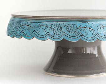 Illustrated Cake Stand - 10 inch