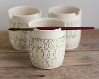 Paint Water Cup - Brush Pot - Green Scribbles - Rinse Bowl - Brush Rest - Watercolor - Watercolour - gift for artist - handmade pottery