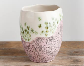 Vase - Tall Bowl - Pottery - butterflies and flowers