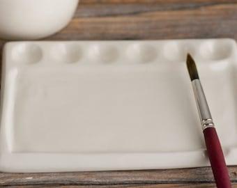 Palette - Watercolour Palette - Paint - Watercolor - ceramic palette  gift for artist - handmade pottery - PALETTE