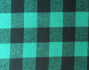 Buffalo Check - Green and Black - 3/4 Inch - Plaid Woven Cotton Flannel Fabric - One Yard
