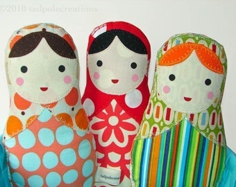 One Babushka Russian Matryoshka Cloth Softie Doll for New Baby, Toddler Girl Gift - Pick 1 of My Doll Designs