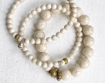 Artisan Handmade Bracelet Set of Three - Mixed Metals & Fossil Stone Beads