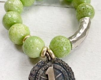 Lime Green Handmade Beaded Stretch Bracelet With Vintage Golf Medal Charm