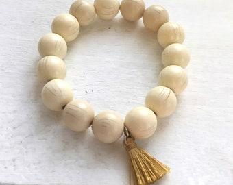 Vintage Ivory Beaded Bracelet With Gold Tassel Charm SUMMER SALE