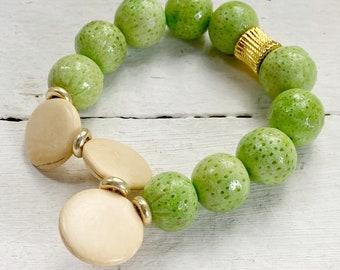 Fun & Flippy Lime Green Handmade  Beaded Stretch Bracelet