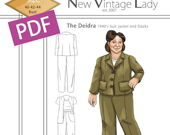 1940s Fabrics and Colors in Fashion The Deidra 1940s WWII slacks and jacket set in PDF size 48-50-52 bust NVL plus size multi size repro vintage sewing patterns  AT vintagedancer.com