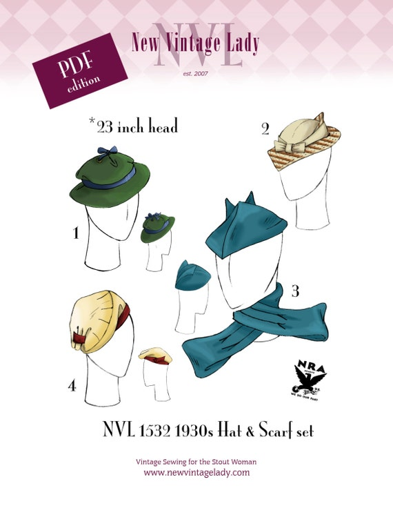 1930s Style Hats | Buy 30s Ladies Hats NVL 1930s Hat Quartet with Scarf repro pattern 23 inch head in PDF 1532 $20.00 AT vintagedancer.com