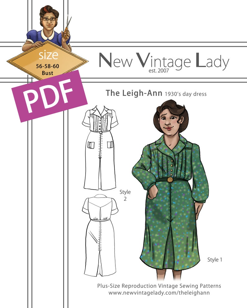 1940s Plus Size Fashion: Style Advice from 1940s to Today The Leigh-Ann 1930s Day Dress in PDF 56-58-60 bust $20.00 AT vintagedancer.com