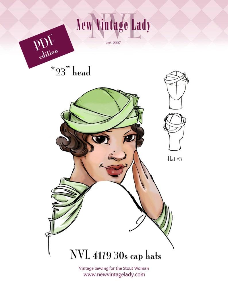 1930s Style Hats   Buy 30s Ladies Hats NVL 1930s Cap Hats 23 head in PDF 4179  AT vintagedancer.com