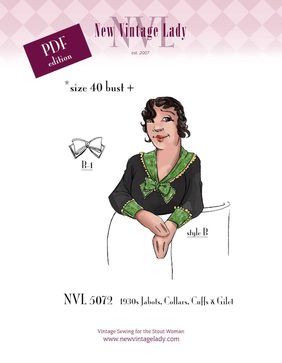 1930s Sewing Patterns- Dresses, Pants, Tops NVL 1930s jabots collars cuffs and gilet 40 bust and over in PDF 5072 $20.00 AT vintagedancer.com