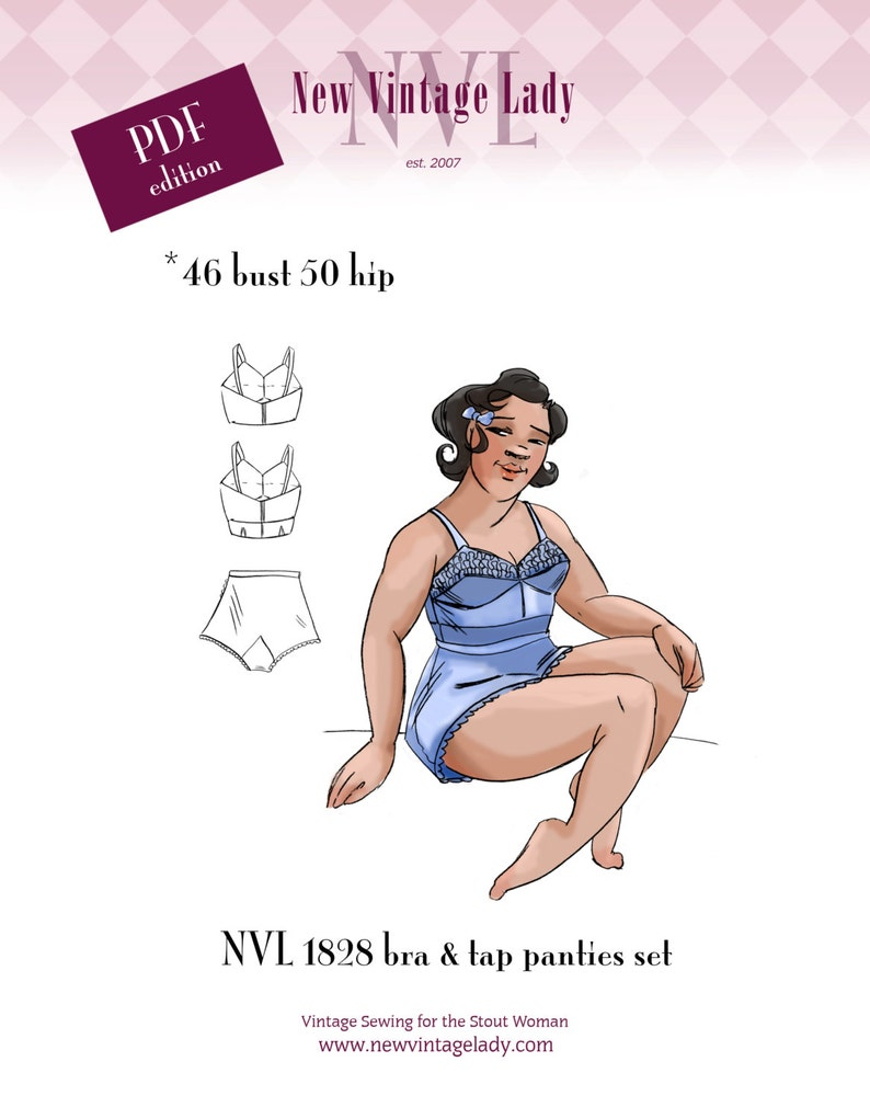 Retro Lingerie, Vintage Lingerie, 1940s-1970s NVL 1940s bra and tap panties pattern set 46 bust in PDF 1828 $14.00 AT vintagedancer.com