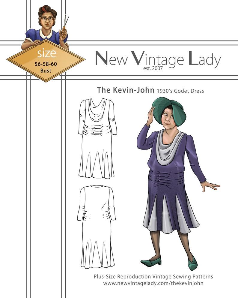 1930s Sewing Patterns- Dresses, Pants, Tops The Kevin-John 1930s Godet Dress paper pattern Plus Size from NVL $20.00 AT vintagedancer.com