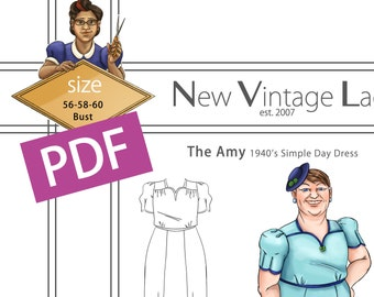 The Amy 1940s simple dress in PDF size 56-58-60 bust NVL plus size multi size repro vintage sewing patterns