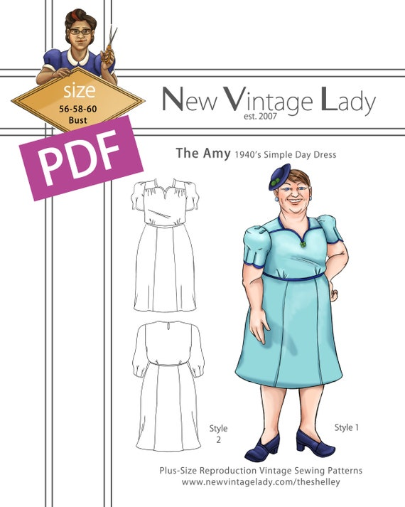 1940s Sewing Patterns – Dresses, Overalls, Lingerie etc The Amy 1940s simple dress in PDF size 56-58-60 bust NVL plus size multi size repro vintage sewing patterns $20.00 AT vintagedancer.com