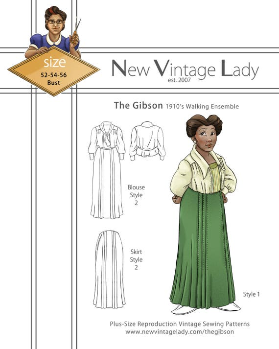Victorian Plus Size Dresses | Edwardian Clothing, Costumes The Gibson 1910s blouse and walking skirt Paper pattern NVL plus size multi size repro vintage sewing patterns $30.00 AT vintagedancer.com